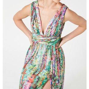Aidan Mattox Printed Maxi Dress Rushed Waist Gown